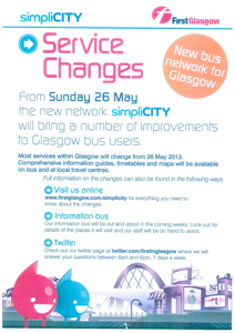 First Glasgow Service Changes Poster